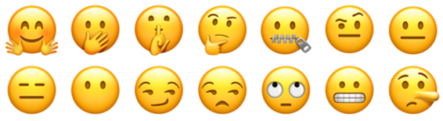 Emojis with different facial expressions